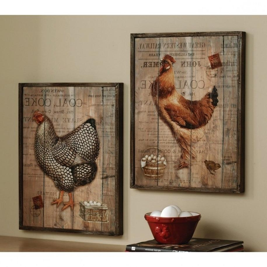 Kitchen : Wonderful Country Kitchen Wall Decor Ideas With Country Pertaining To Metal Rooster Wall Decor (View 10 of 20)