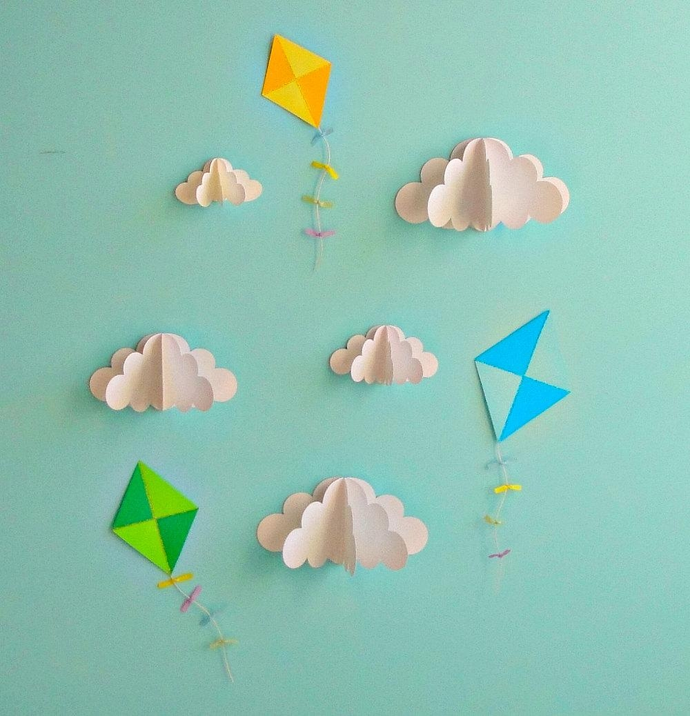 Kite Decals Paper Decals Wall Decals Wall Art 3D Paper In 3D Clouds Out Of Paper Wall Art (Image 17 of 20)