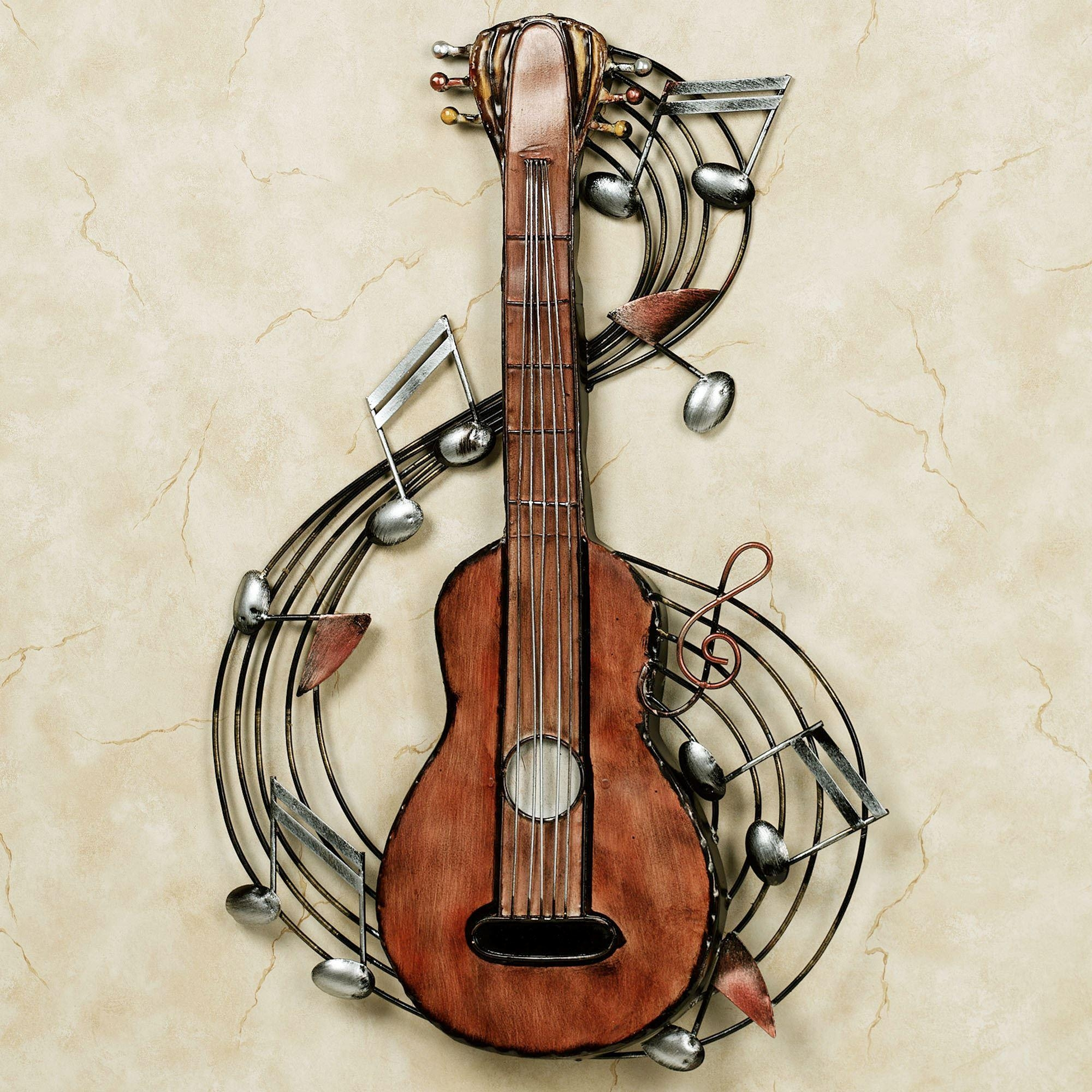Kithara Guitar Metal Wall Art In Music Metal Wall Art (Image 4 of 20)