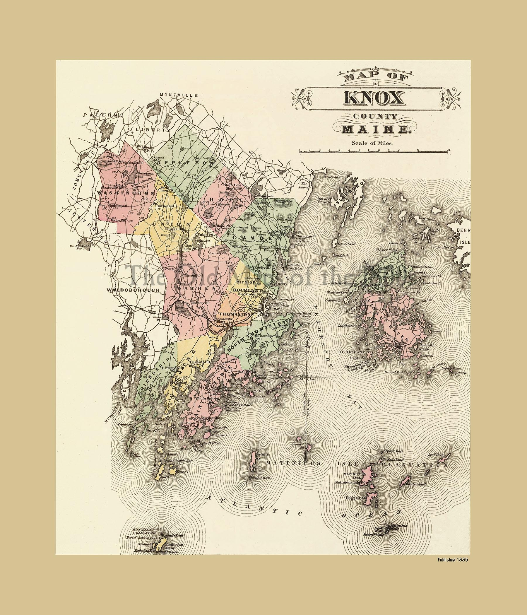 Knox County, Maine In 1885 – Vintage Map, Antique Map Intended For Vintage Map Wall Art (View 15 of 20)