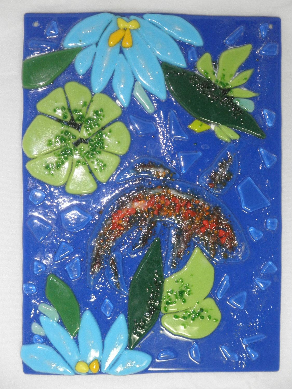 Koi Fish Tack Fused Glass Wall Hanging 6X8 Fused Regarding Fused Glass Wall Art Hanging (View 9 of 20)