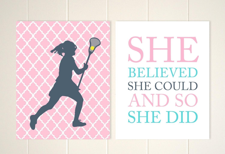 Lacrosse Wall Art Girls Room Wall Art Lacrosse Room Decor In Wall Art For Girls (Image 12 of 20)