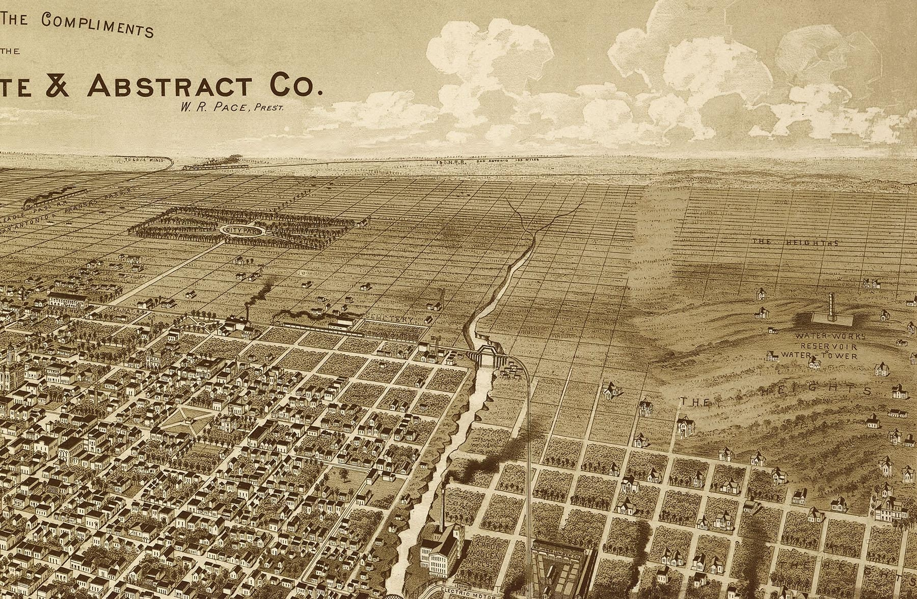 Laredo, Texas In 1892 – Bird's Eye View, Aerial Panorama, Vintage Throughout Vintage Map Wall Art (Image 9 of 20)