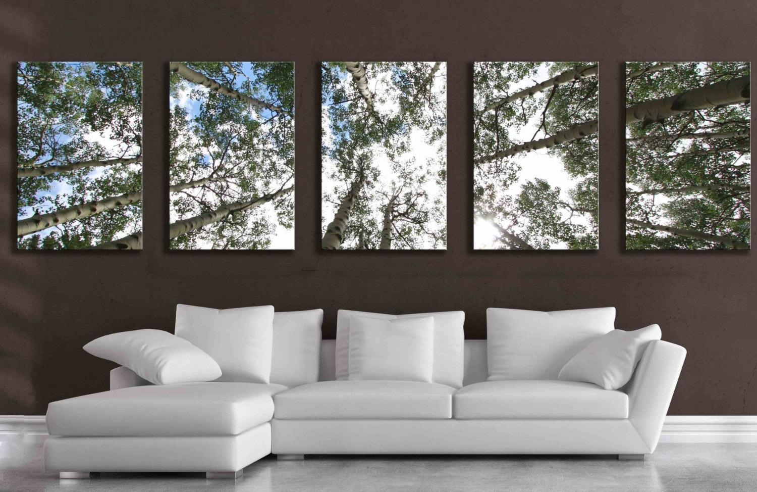 Large 5 Panel Wall Art Aspen Tree Canvas Decor Five Multipiece Regarding Large Green Wall Art (Image 8 of 20)