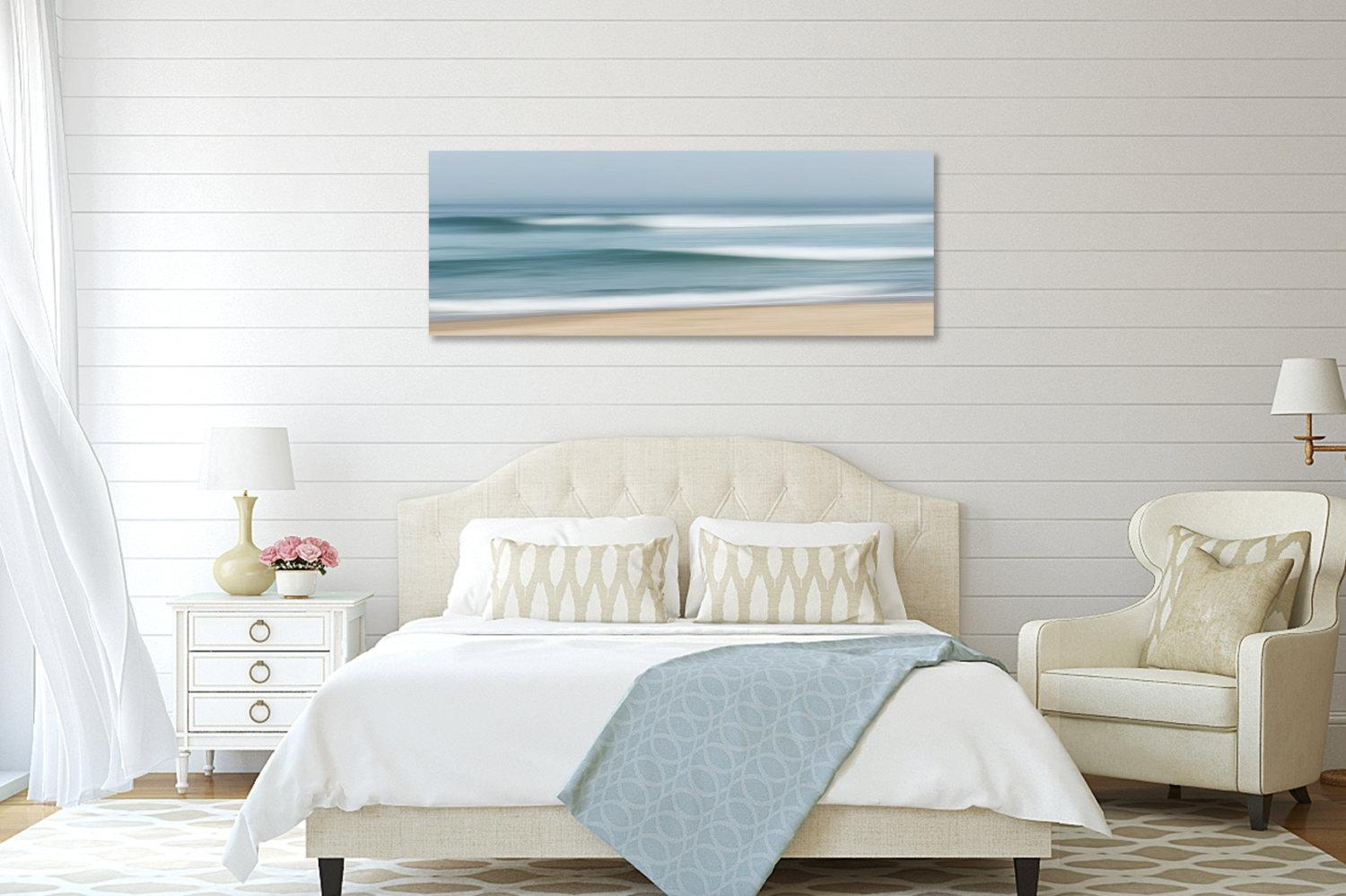 Large Abstract Beach Canvas Wall Art Ocean Seascape Pertaining To Nautical Canvas Wall Art (Image 3 of 20)