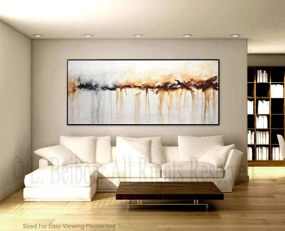 Large Abstract Painting Original Art 6Ft Large White Brown In Large White Wall Art (Image 8 of 21)