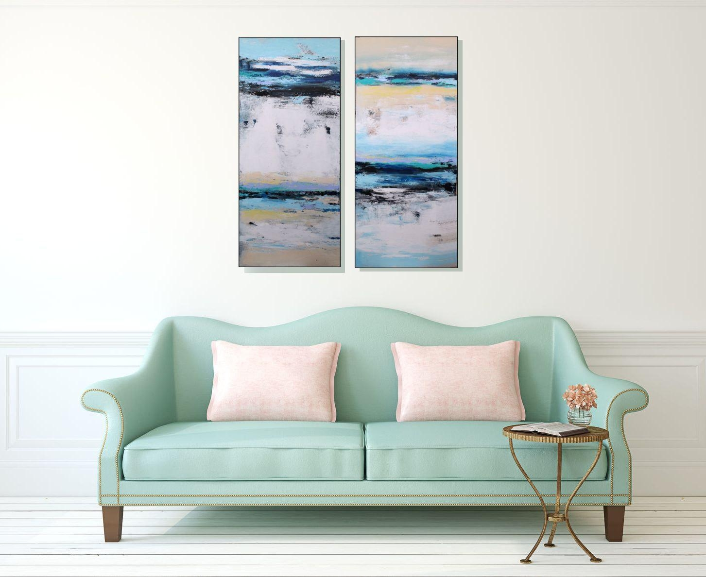 Large Abstract White And Blue Canvas Art Original Wall Art Inside Coastal Wall Art Canvas (Image 12 of 20)