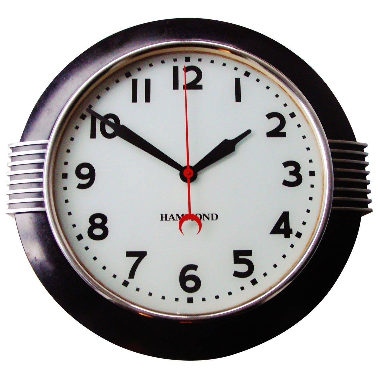 Large American Art Deco Chrome And Black Illuminated Dial Wall In Art Deco Wall Clocks (Image 15 of 20)