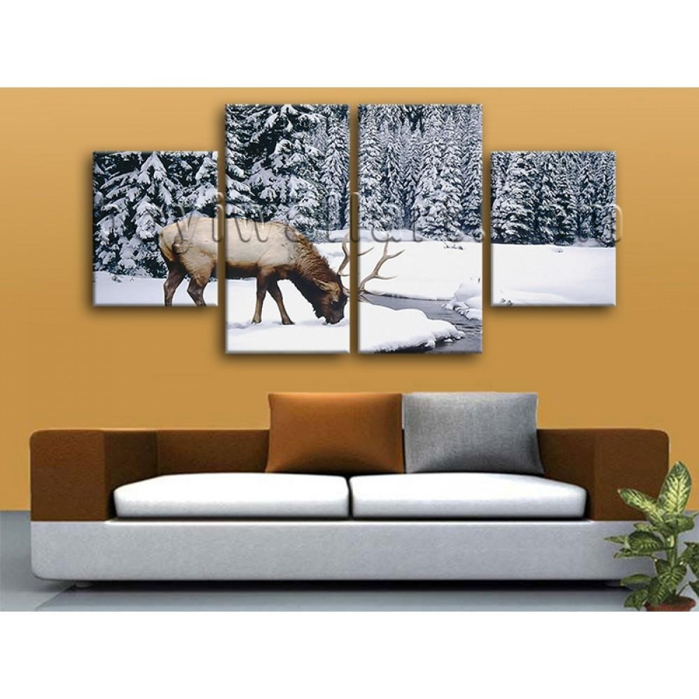 Large Animal Wall Art Elk Canvas Photography Painting Dining Room In Animal Wall Art (Image 13 of 20)
