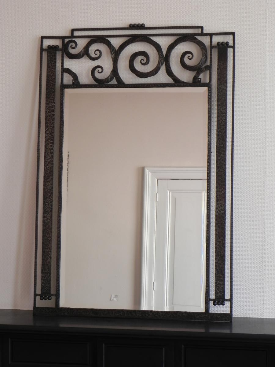Large Art Deco Mirror With Steel Frame, 1930S For Sale At Pamono In Mirrored Frame Wall Art (View 8 of 20)