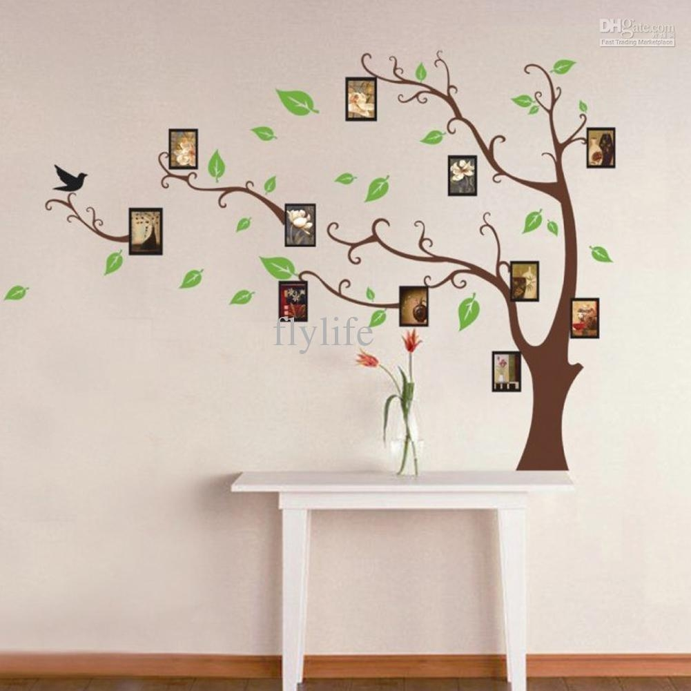 Large Art Photo Frames Tree Wall Decor Stickers Green Leaves On Within Tree Branch Wall Art (Image 8 of 20)