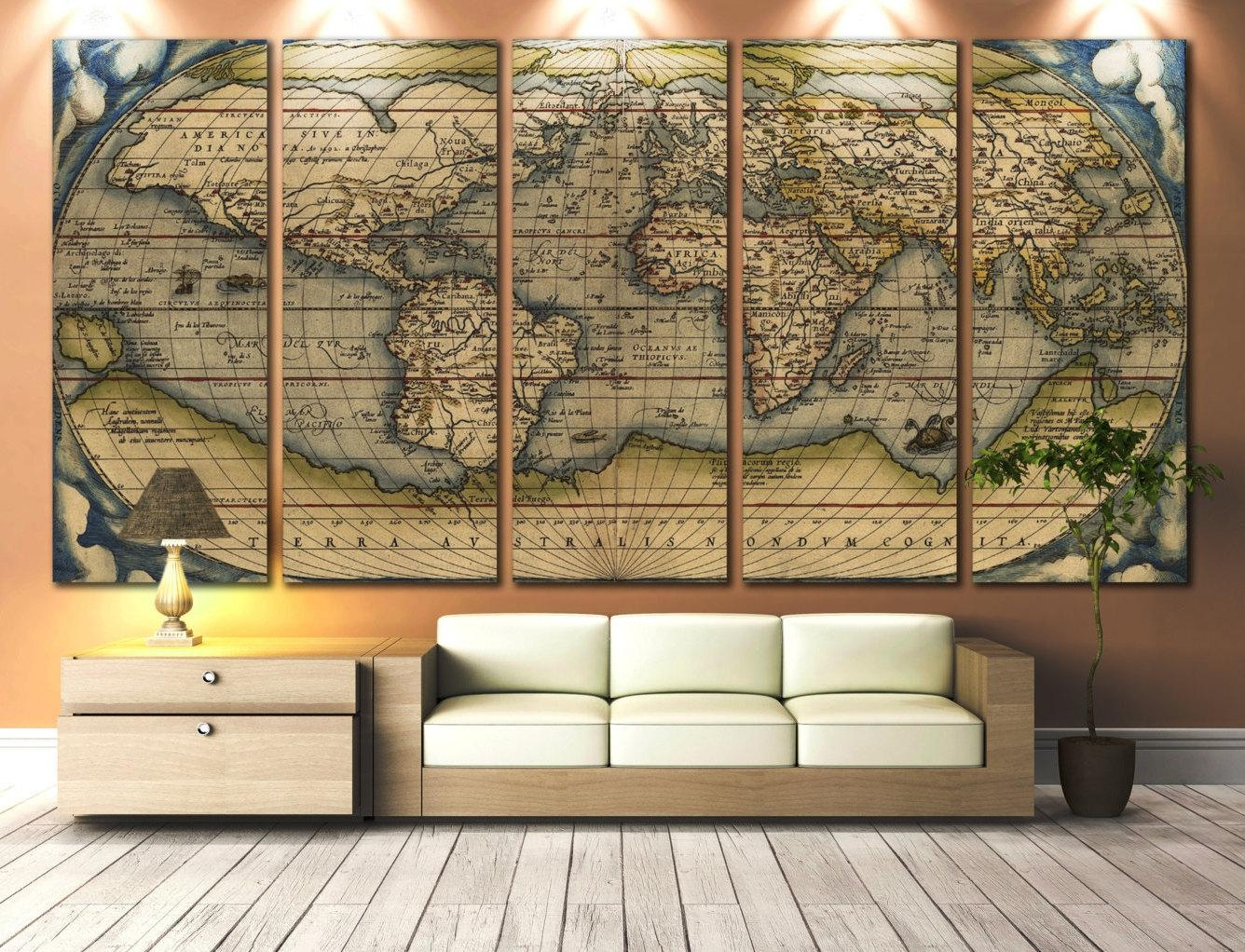 Large Artwork For Walls Large Wall Art World Map Canvas Print Regarding Old World Map Wall Art (Image 5 of 20)