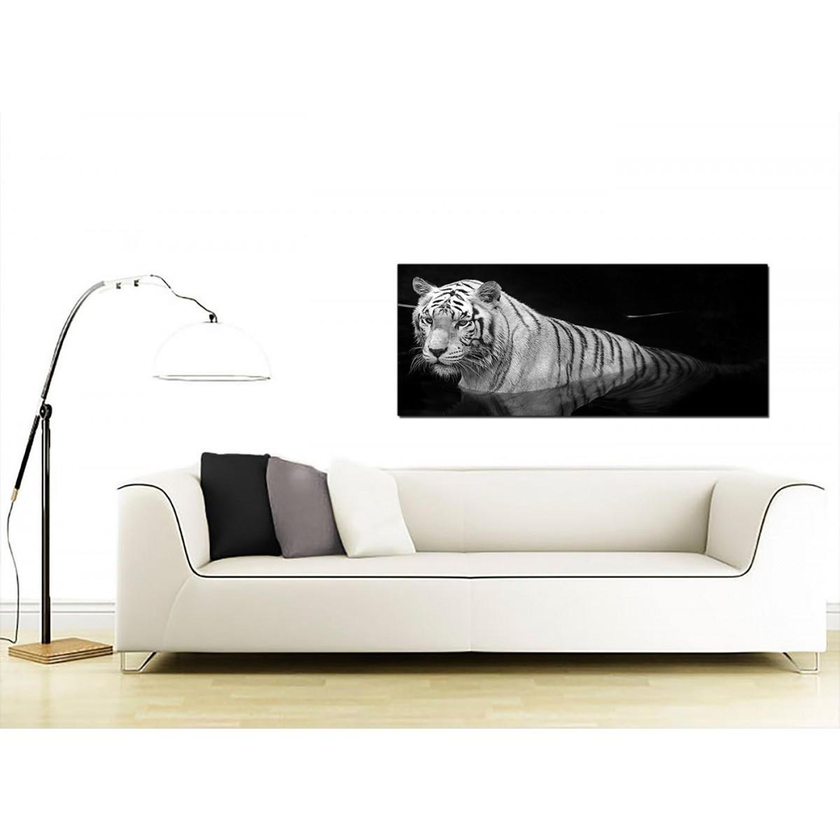 Large Black And White Canvas Wall Art Of A Tiger Throughout Large Black And White Wall Art (Image 11 of 20)
