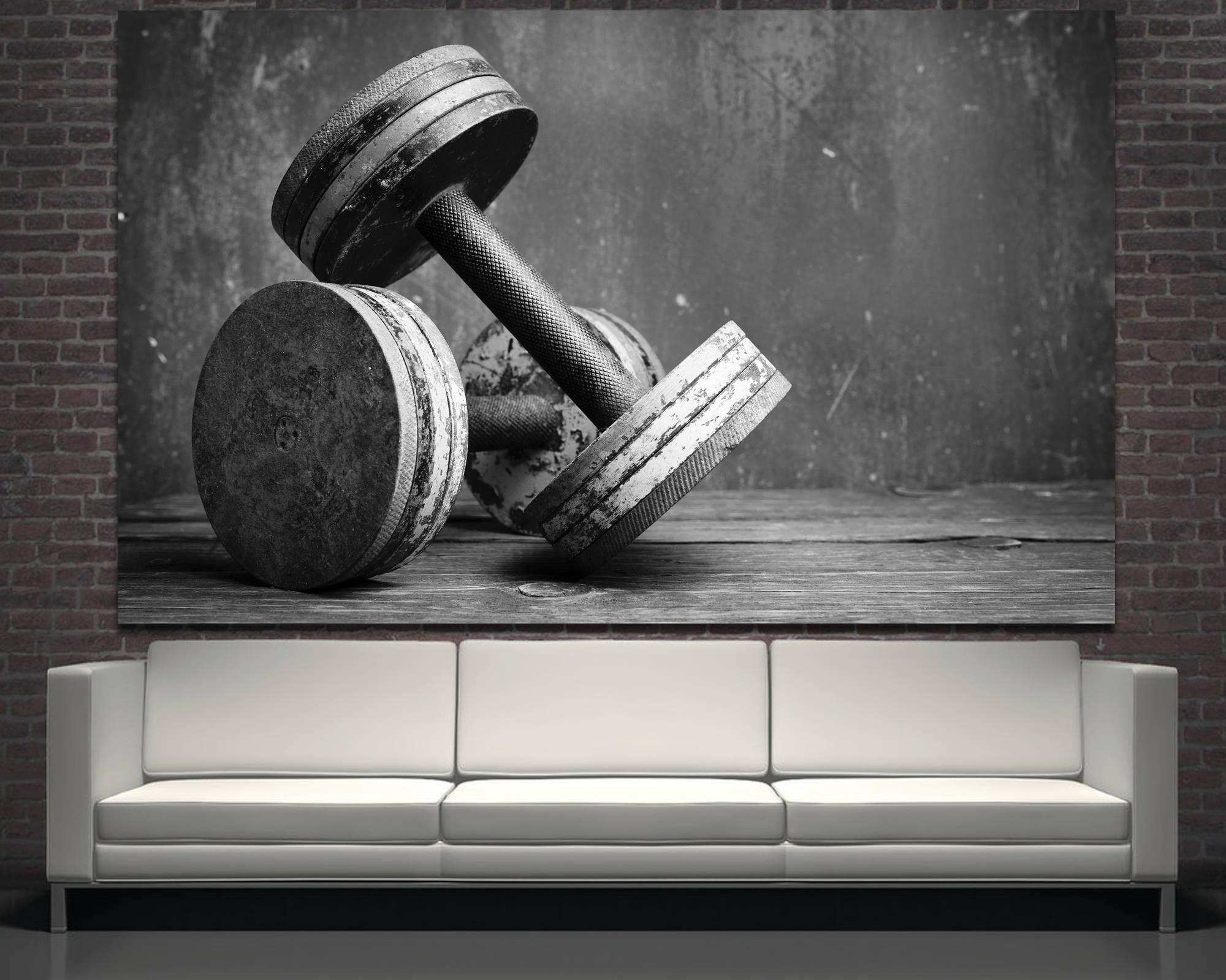 Large Black And White Dumbbells Photography Wall Print Art Throughout Large Black And White Wall Art (Image 12 of 20)
