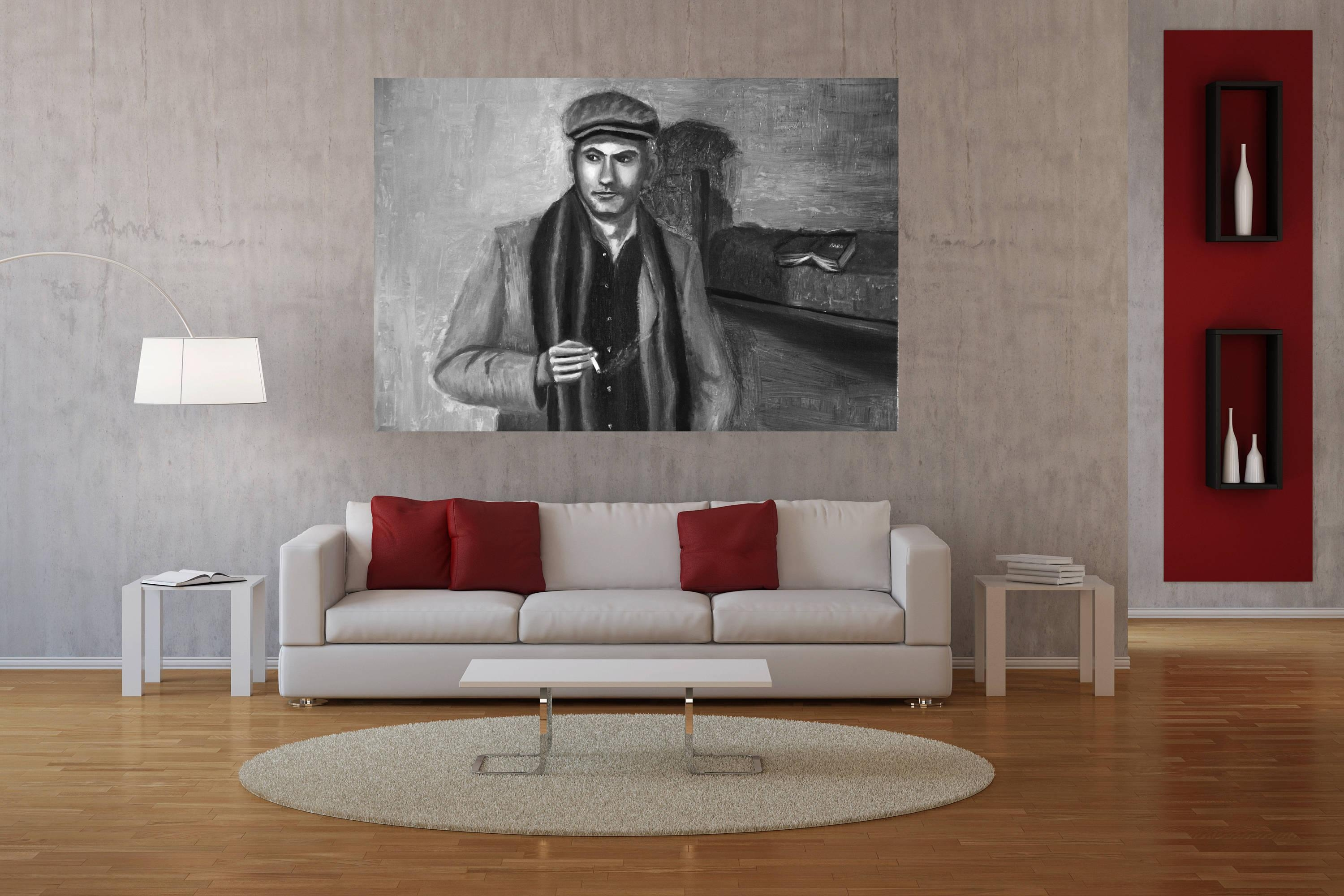 Large Black And White Wall Art,man Portrait Painting,wall Art With Regard To Large White Wall Art (Image 10 of 21)