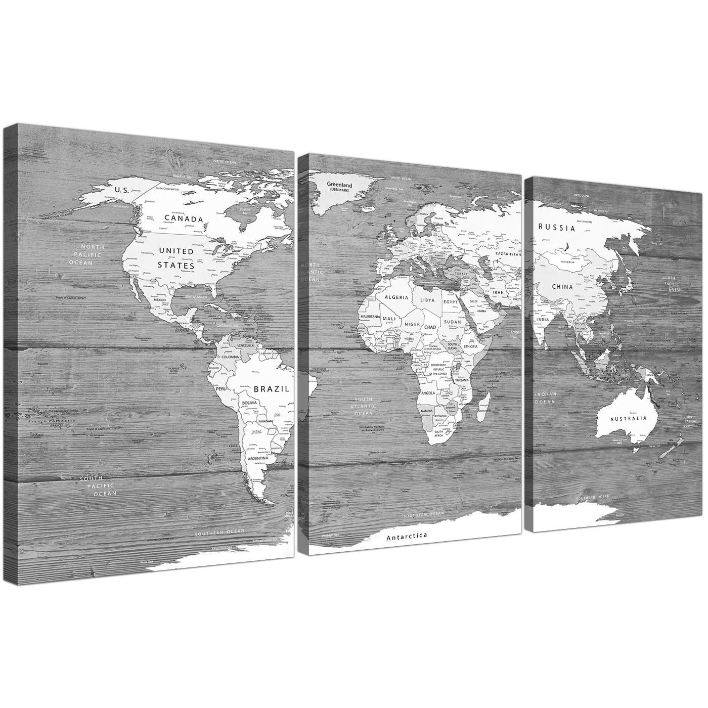 Large Black White Map Of World Atlas – Canvas Wall Art Print In Atlas Wall Art (View 17 of 20)