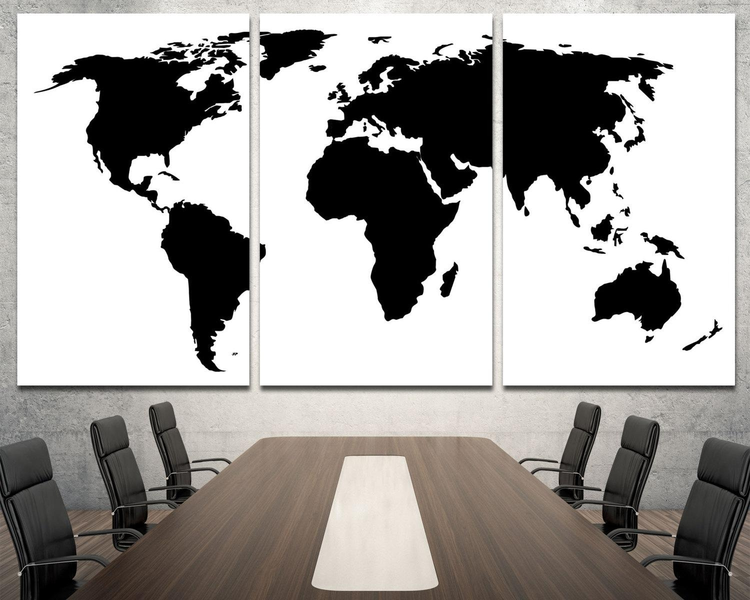 Large Black World Map Wall Art Modern Map Of The World Wall Within Large Black And White Wall Art (View 14 of 20)