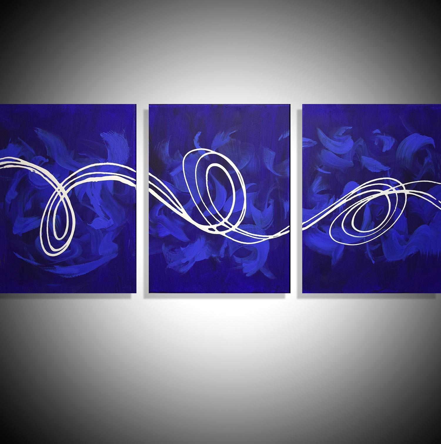 "Large Canvas Art ""deep Blue"" Big Canvas Abstract Art For Sale Within Triptych Art For Sale (Image 7 of 20)"