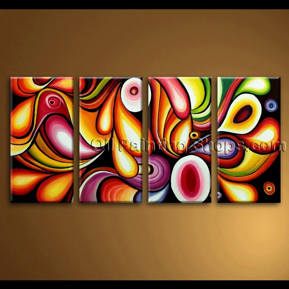Large Canvas Wall Art Rainbow Colorful Abstract Painting With Colorful Abstract Wall Art (Image 13 of 20)