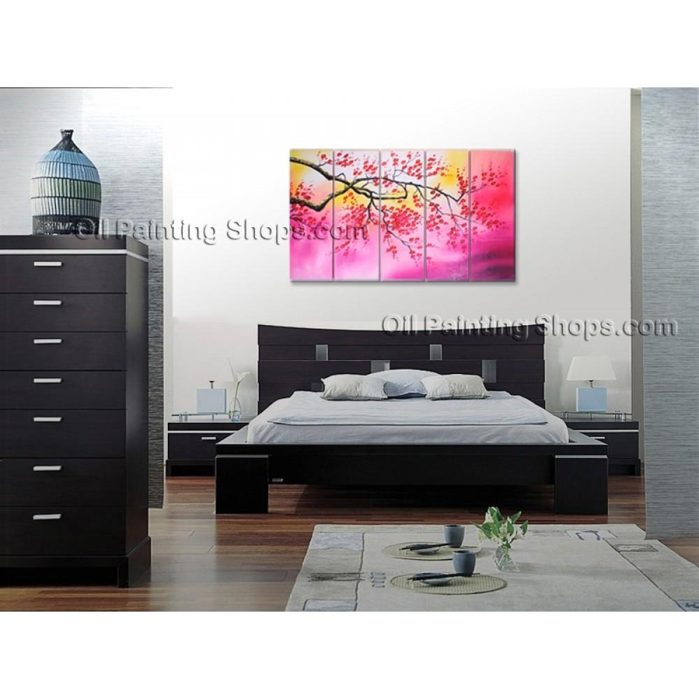 Large Contemporary Wall Art Floral Painting Cherry Blossom Scenery With Regard To Large Contemporary Wall Art (View 20 of 20)
