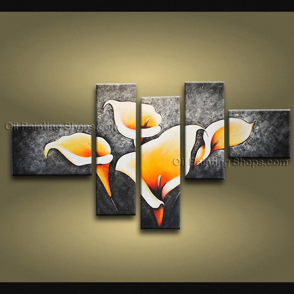 Large Contemporary Wall Art Floral Painting Lily Flowers Artwork With Contemporary Wall Art (View 4 of 20)