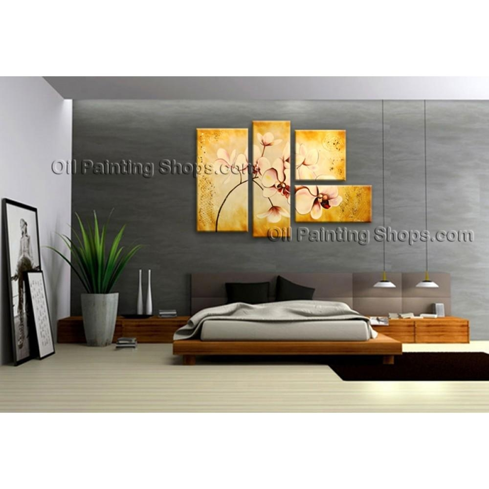 Large Contemporary Wall Art Floral Painting Orchid Contemporary Decor With Regard To Large Contemporary Wall Art (View 4 of 20)