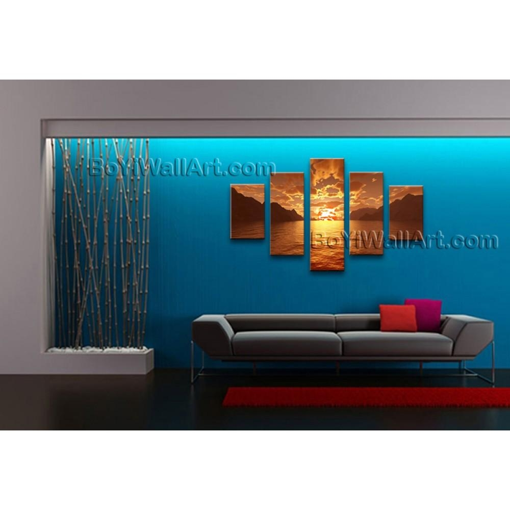 Large Contemporary Wall Art Seascape Painting Sunset Canvas Stretched For Large Contemporary Wall Art (View 18 of 20)