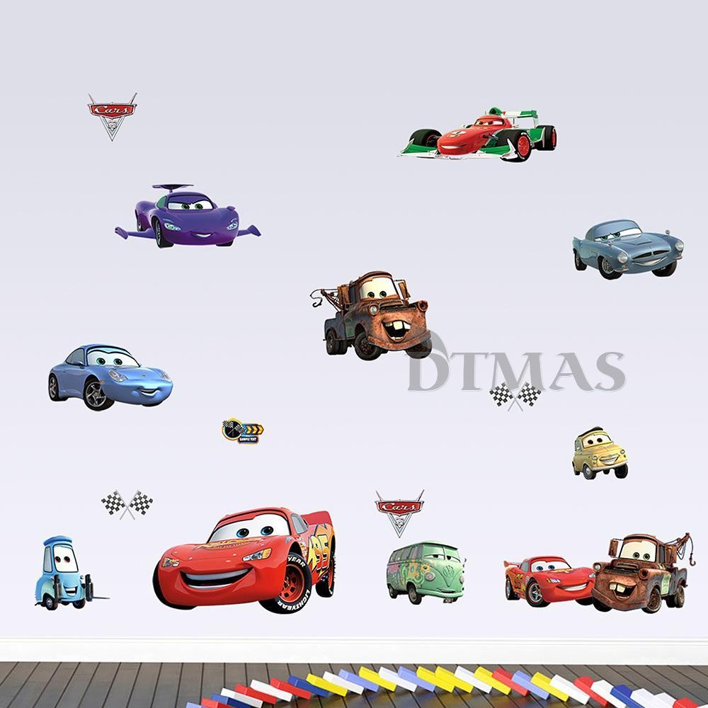 Large Disney Cars Wall Stickers Boys Lightning Mcqueen Kids In Lightning Mcqueen Wall Art (View 17 of 20)