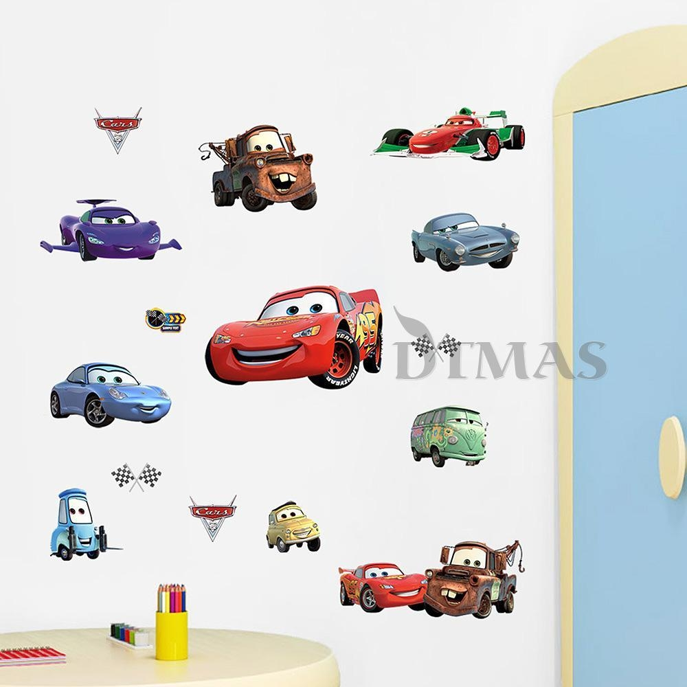 Large Disney Cars Wall Stickers Boys Lightning Mcqueen Kids In Lightning Mcqueen Wall Art (View 8 of 20)