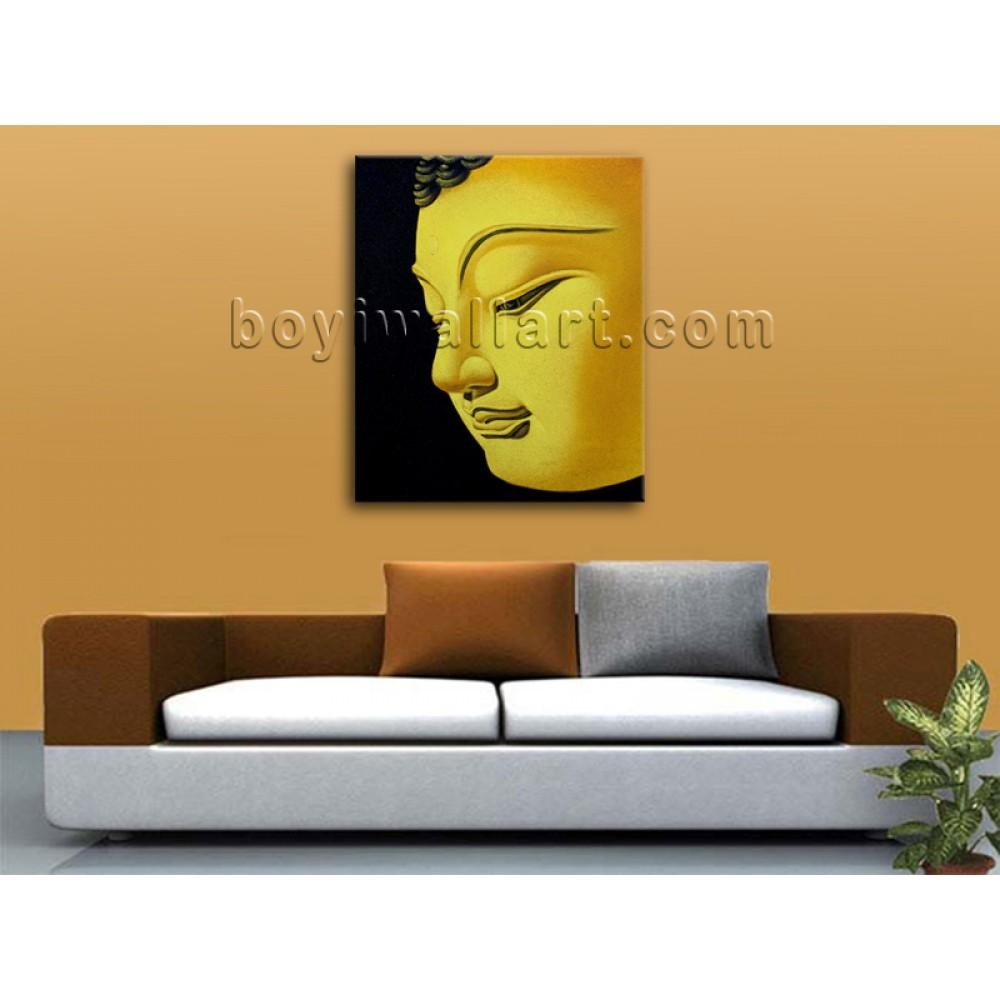 Large Feng Shui Painting Abstract Buddha Head Peaceful Home Decor For Large Buddha Wall Art (Image 14 of 20)