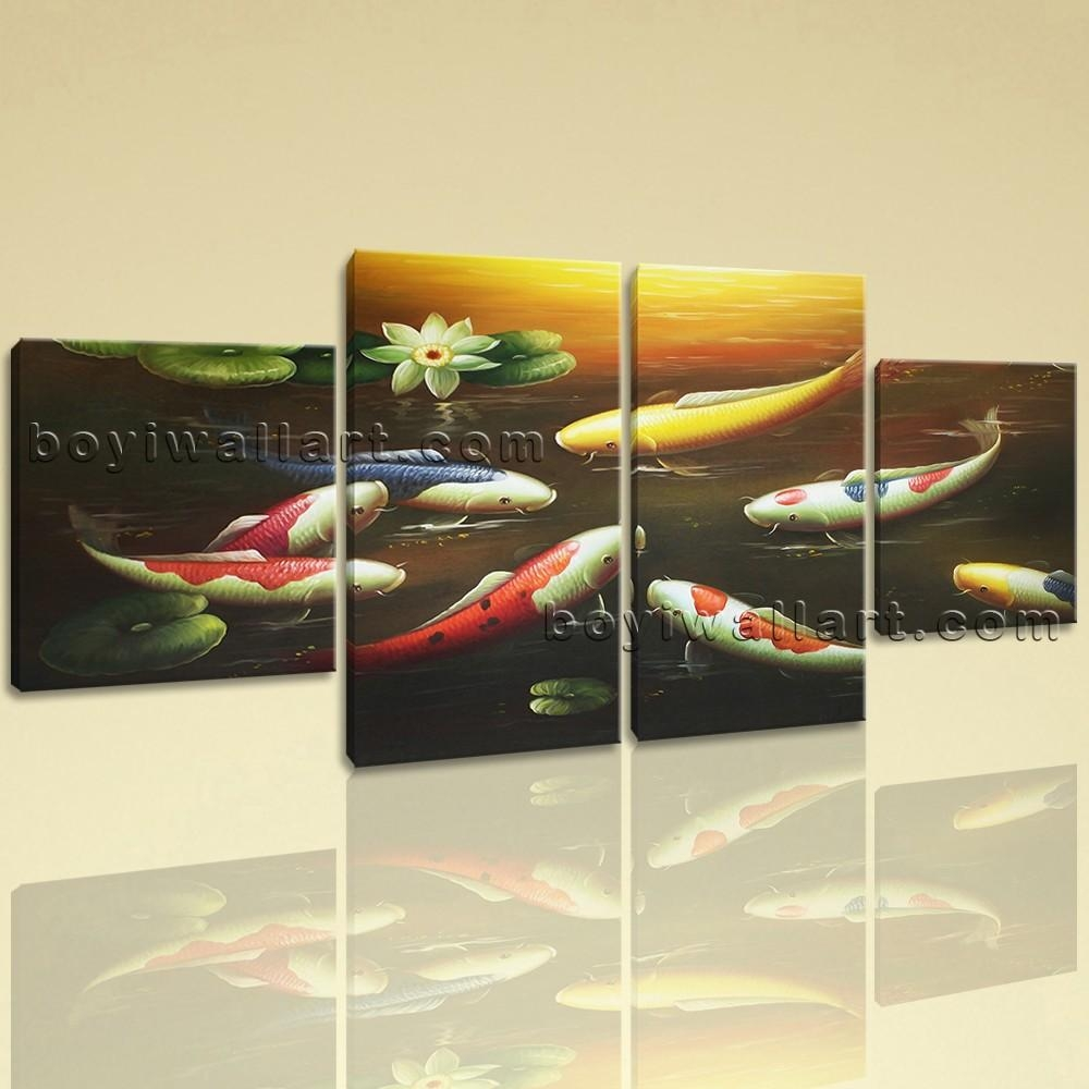 Large Feng Shui Painting Koi Fish Wall Art Canvas Dining Room 4 Within Feng Shui Wall Art (View 11 of 20)