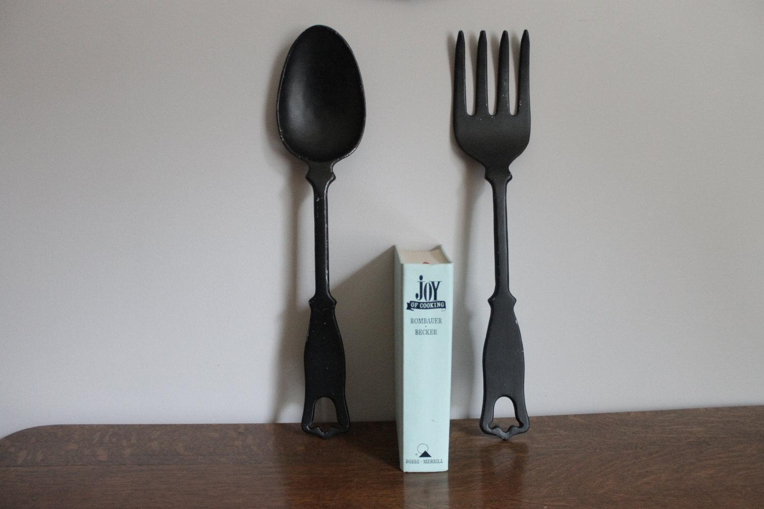 Large Fork And Spoon Wall Decor Art : Large Fork And Spoon Wall With Large Utensil Wall Art (Image 8 of 20)
