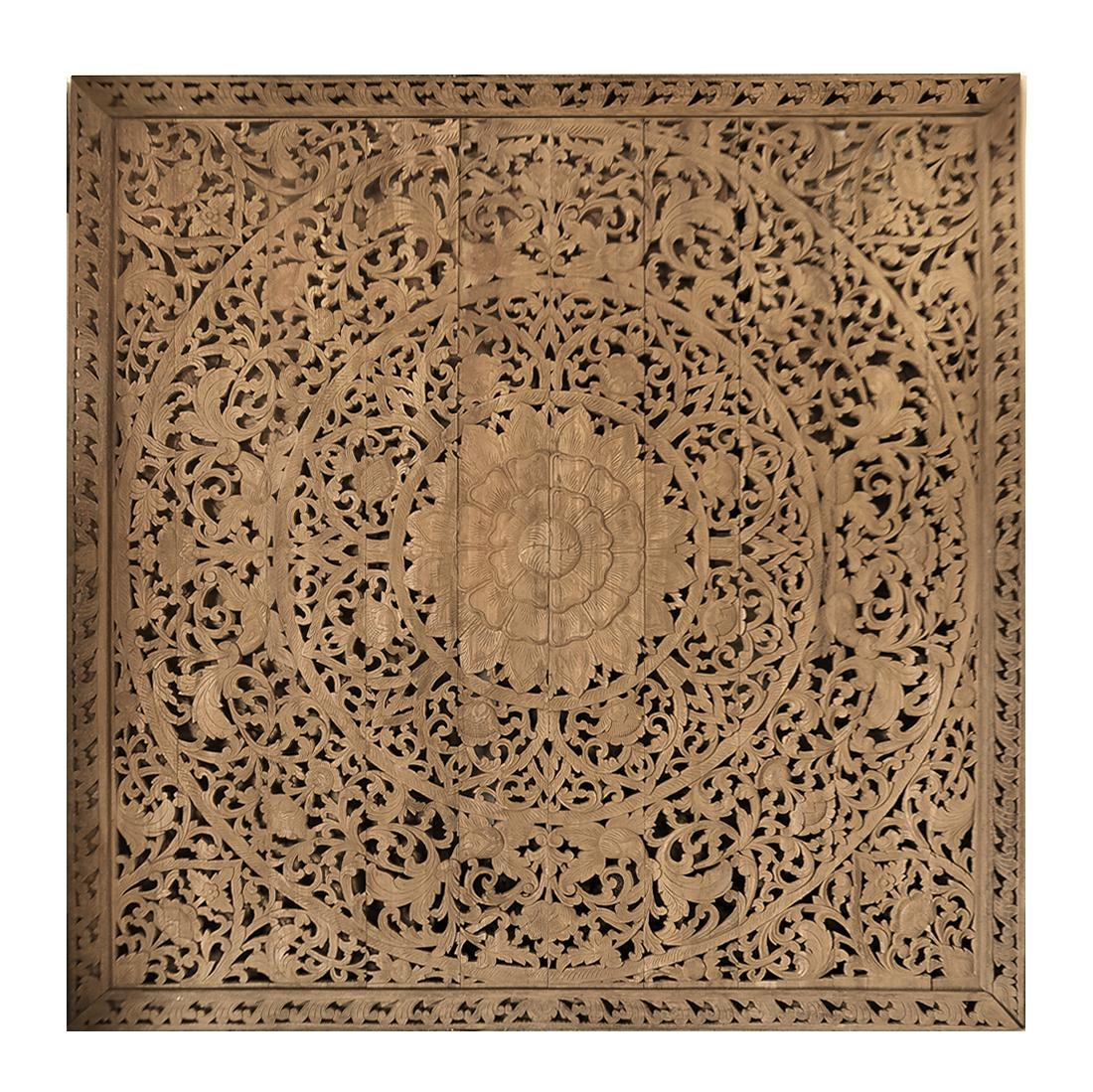 Large Grand Carved Wooden Wall Art Or Ceiling Panel – Siam Sawadee Regarding Wood Panel Wall Art (Image 7 of 20)