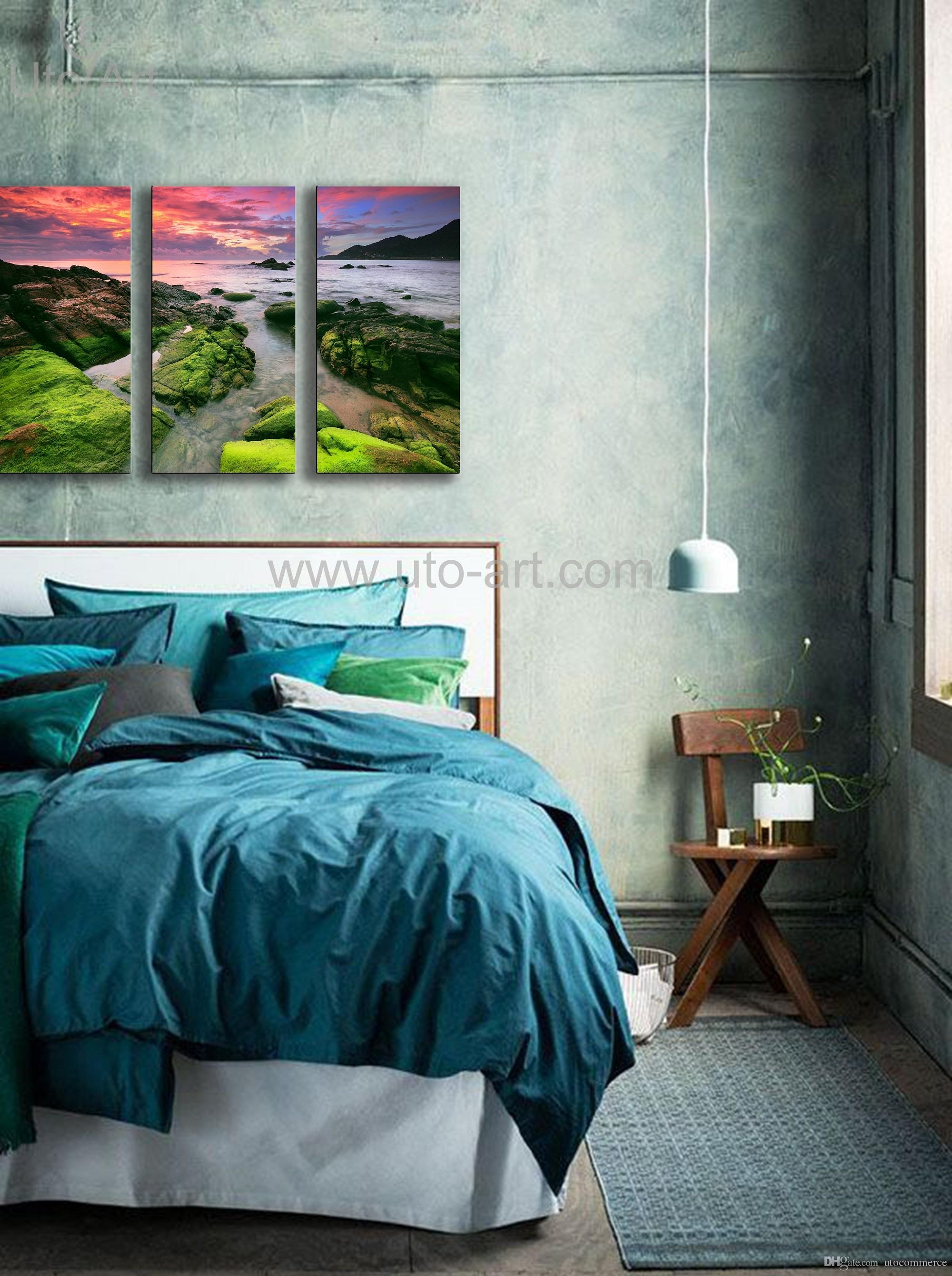Large Home Decor Painting Canvas Art Beach Wall Decoration Within Waterfall Wall Art (View 19 of 20)