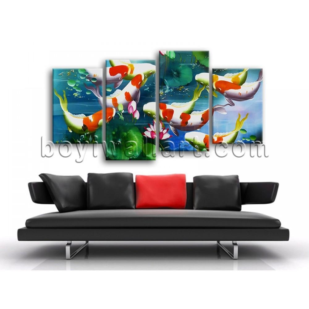 Large Koi Fish Pond Feng Shui Contemporary On Canvas Wall Art Within Feng Shui Wall Art (Image 10 of 20)
