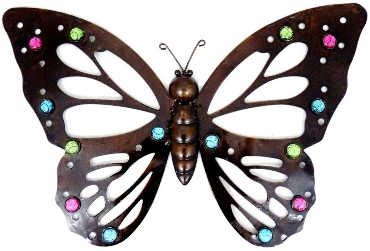 Large Metal Butterfly Wall Art Multicoloured Glass Bead | Home For Large Metal Butterfly Wall Art (Image 10 of 20)