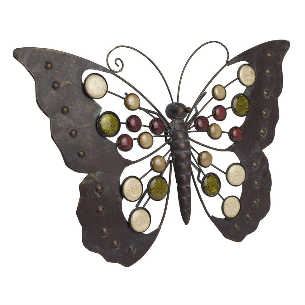 Large Metal Butterfly Wall Art Ornament With Decorative Stones In Large Metal Butterfly Wall Art (Image 12 of 20)
