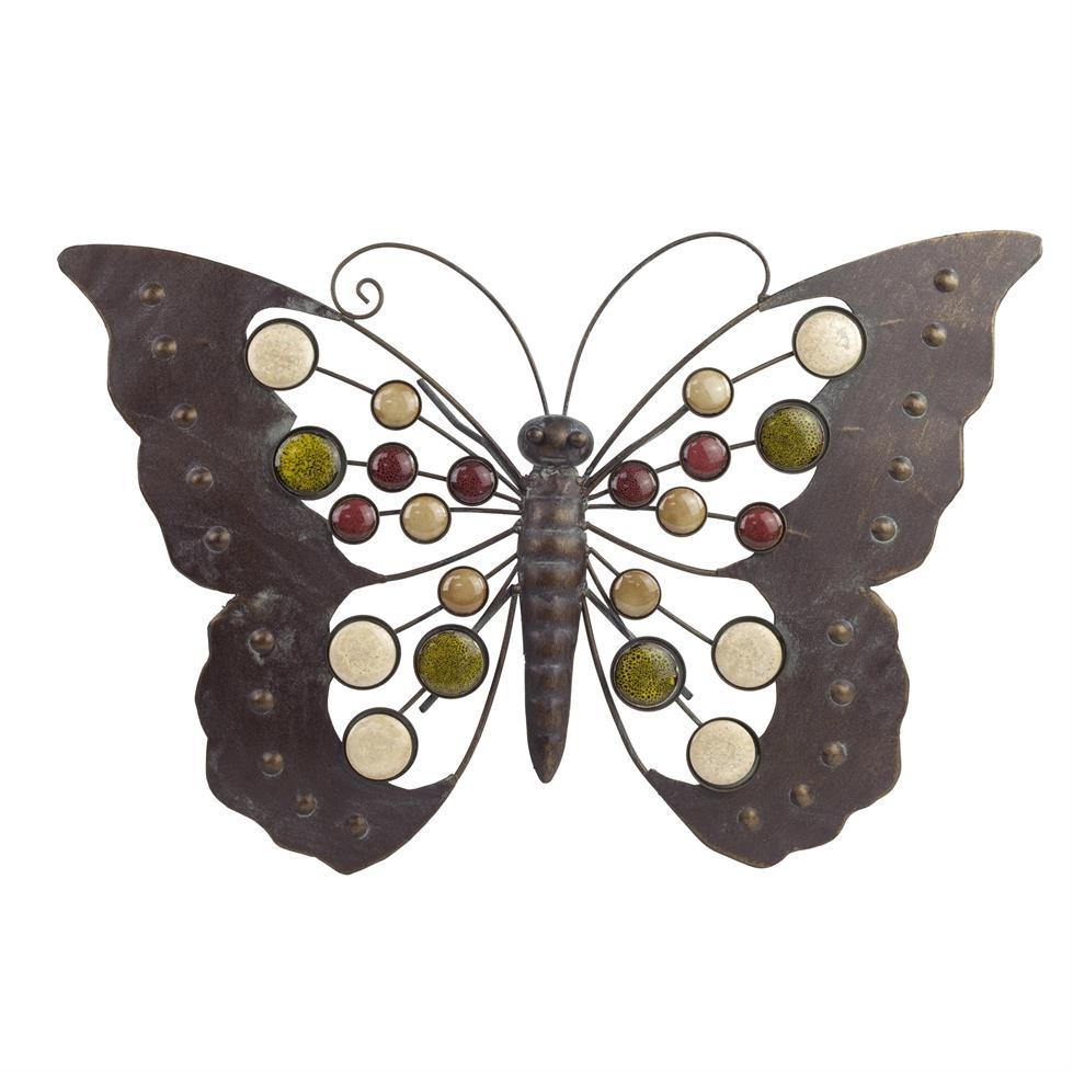 Large Metal Butterfly Wall Art Ornament With Decorative Stones With Regard To Large Metal Butterfly Wall Art (Image 13 of 20)