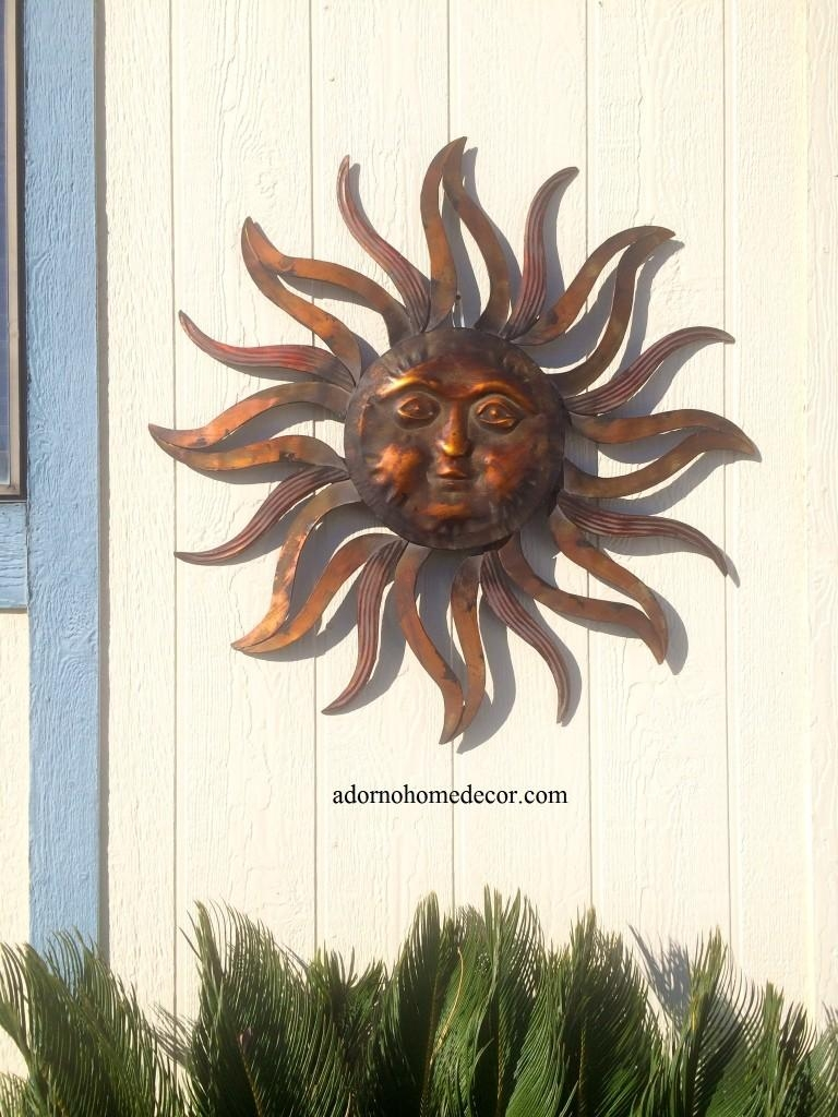 Large Metal Sun Wall Decor Rustic Garden Art Indoor Outdoor Patio Intended For Metal Large Outdoor Wall Art (Image 8 of 20)