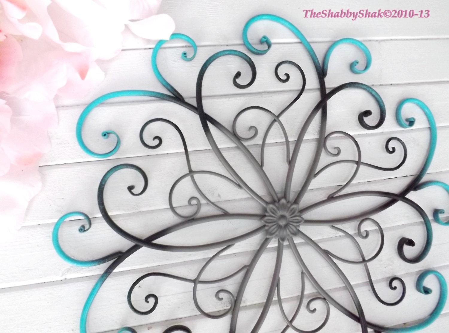Large Metal Wall Art / Bedroom Wall Decor / Turquoise / Black Pertaining To Turquoise And Black Wall Art (View 20 of 20)