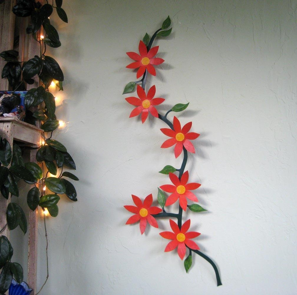 Large Metal Wall Art Flower Vine Sculpture Climbing Trailing Regarding Red Flower Metal Wall Art (View 7 of 20)