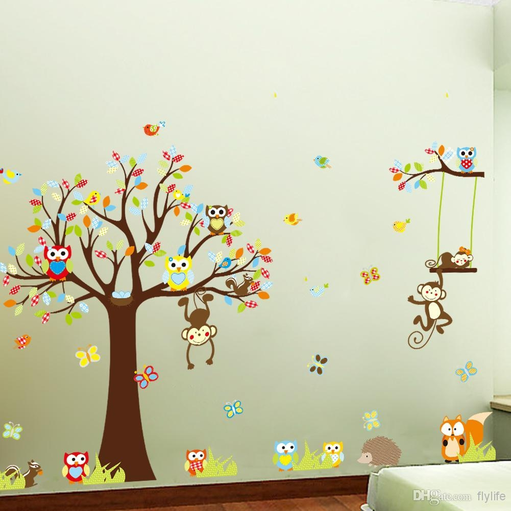 Large Monkey Owl Tree Wall Decal Removable Sticker Kids Art With Regard To Owl Wall Art Stickers (View 7 of 20)