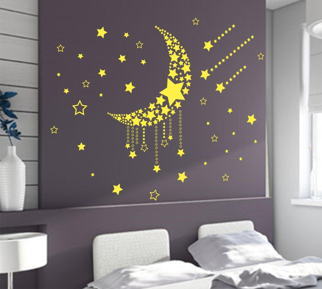 Large Moon Stars Wall Art Vinyl Stickers, Diy Bedroom Wall Decal Intended For Bedroom Wall Art (View 14 of 20)