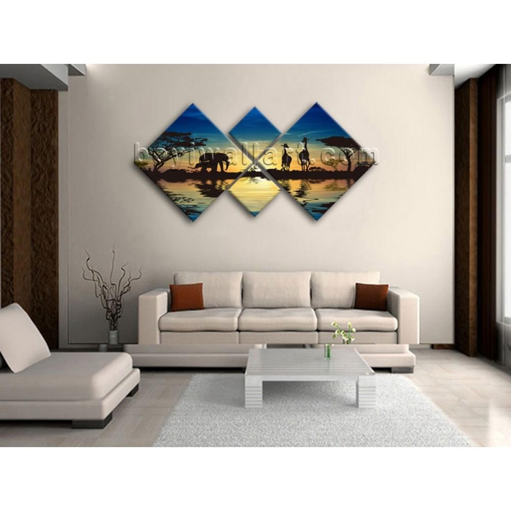 Large Multiple Pieces Wall Art Print On Canvas Blue Landscape Throughout Wall Art Multiple Pieces (View 16 of 20)