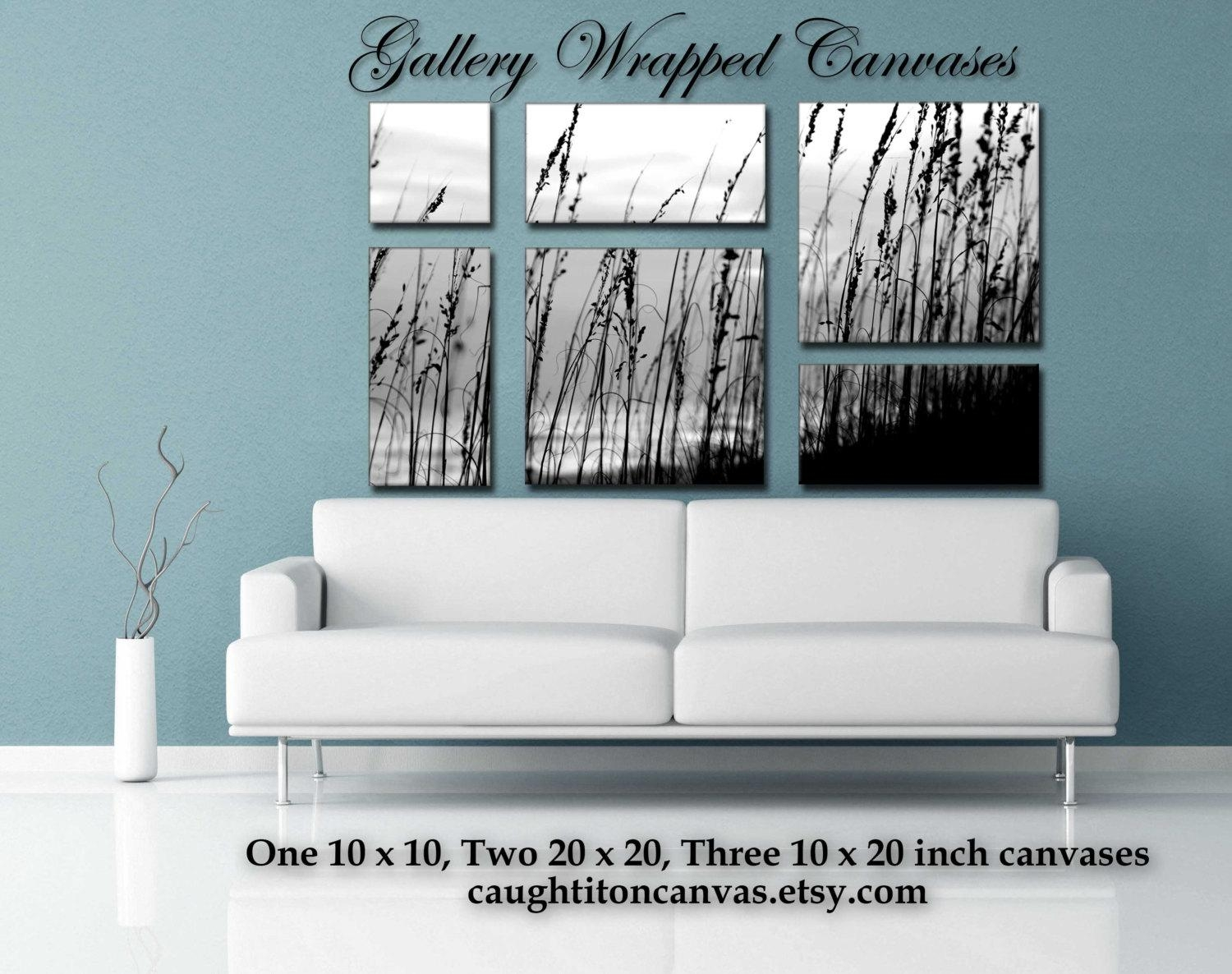 Large Mural Multipanel Multiple Pieces Wall Art Sea Oats Black Intended For Wall Art Multiple Pieces (Image 7 of 20)
