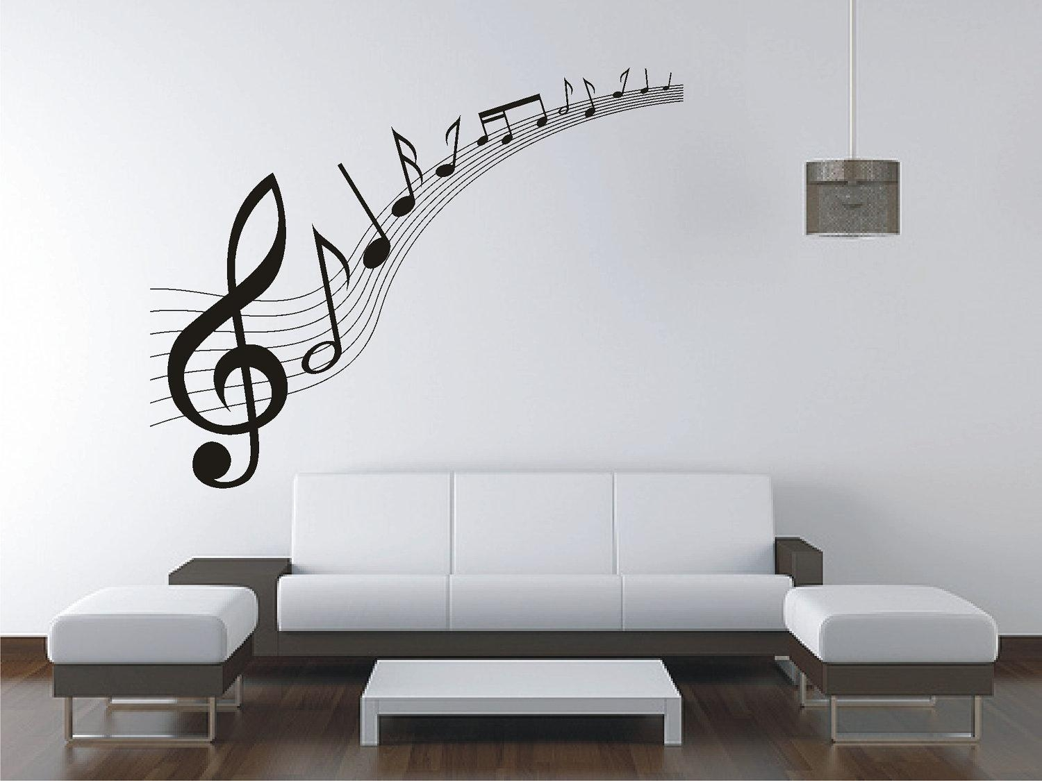 Large Music Music Notes Wall Sticker Vinyl Decal Wall With Music Note Art For Walls (View 13 of 20)