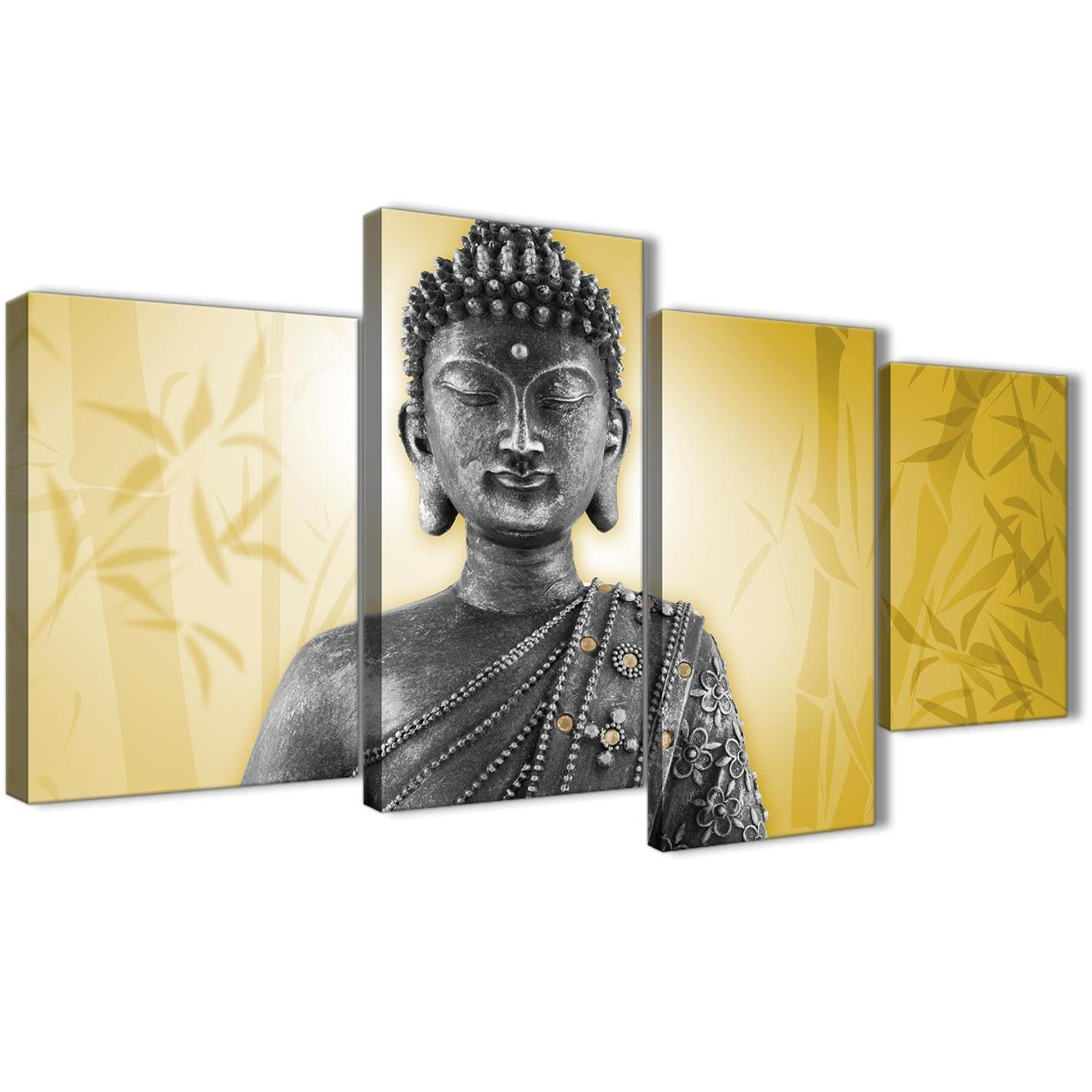 Large Mustard Yellow And Grey Silver Canvas Art Print Of Buddha With Regard To Silver Buddha Wall Art (Image 9 of 20)