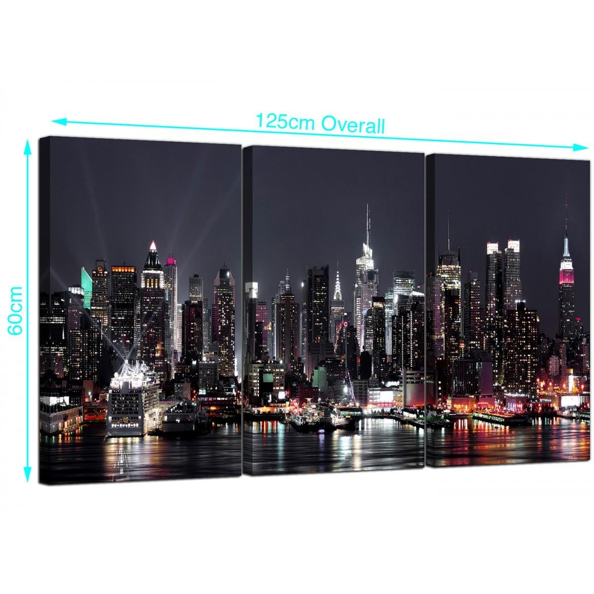 Large New York Skyline Canvas Pictures Set Of 3 For Your Office Regarding New York Skyline Canvas Black And White Wall Art (View 7 of 20)