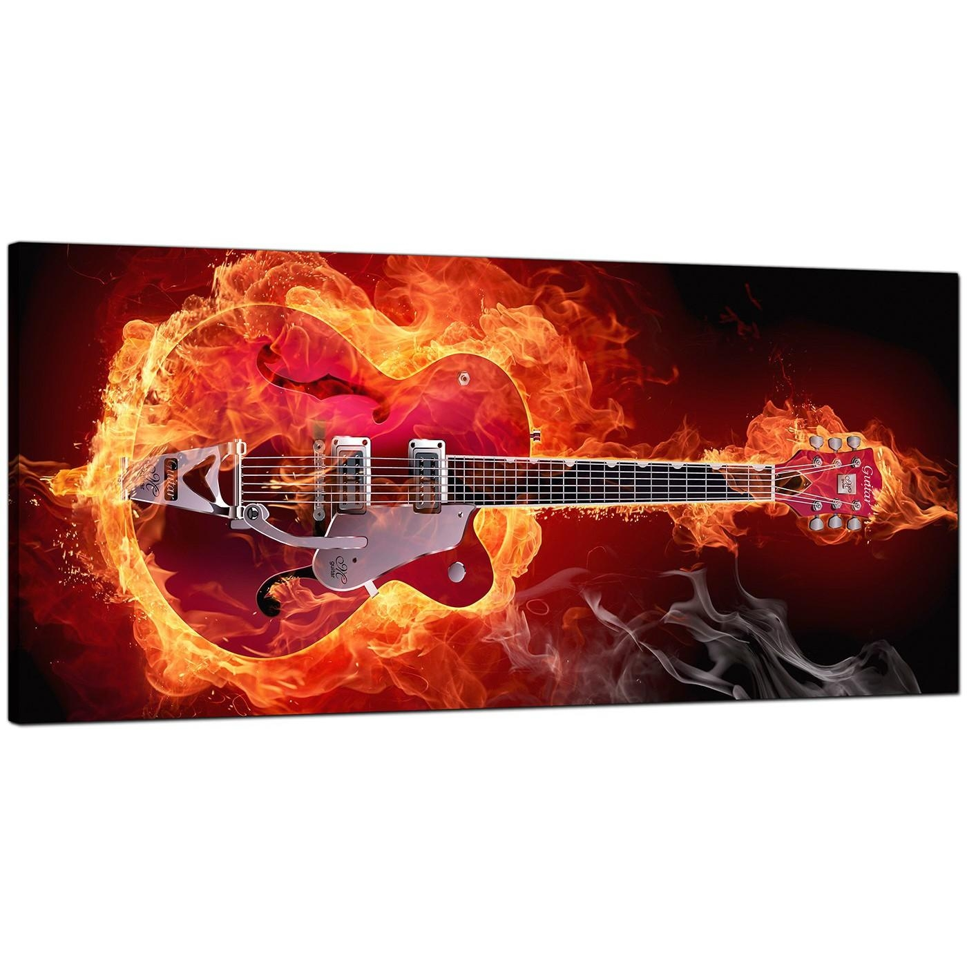 Large Orange Canvas Pictures Of An Electric Guitar On Fire Pertaining To Guitar Canvas Wall Art (View 5 of 20)