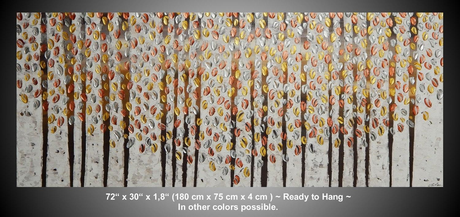 Large Painting On Canvas Art Paintings Acrylic Painting Wall Within Silver And Gold Wall Art (View 19 of 20)